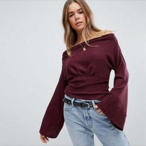 NWT Free People Wine/Burgundy Crazy On You Thermal Sweater M